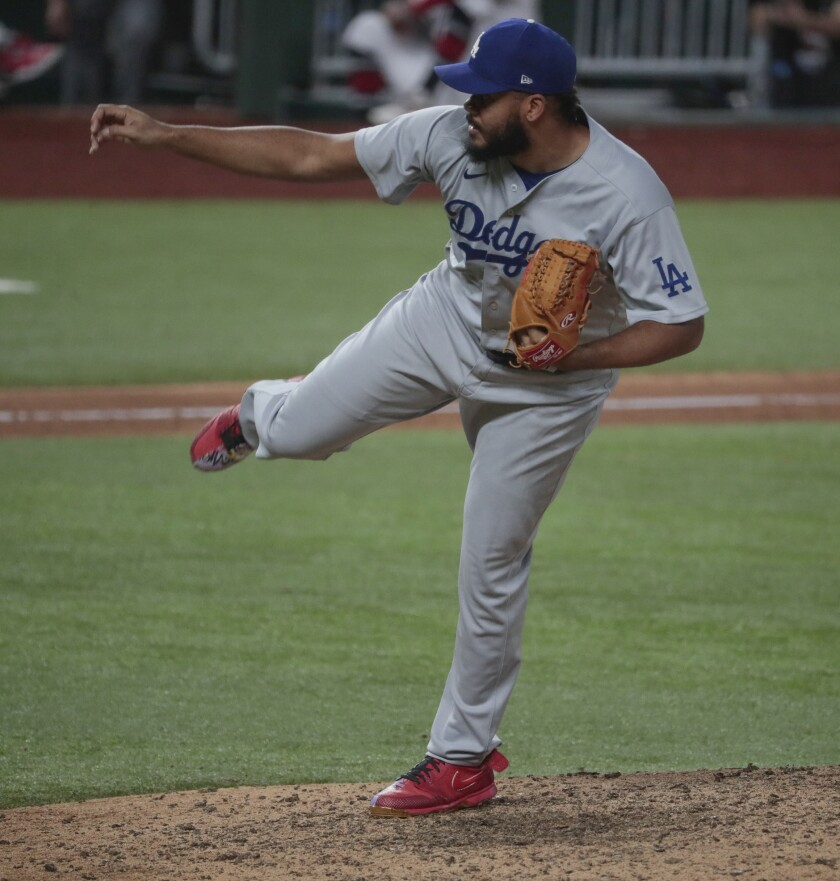 Dodgers relief pitcher Kenley Jansen pitches the sixth inning in Game 3 of the NLCS.