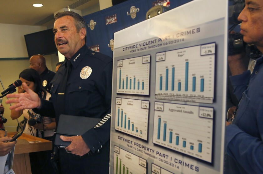 LAPD Chief Charlie Beck announces the mid-year crime statistics for 2014. The LAPD's count of aggravated assaults rose 12% in the first half of the year, compared with the year before.
