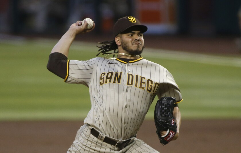 Dinelson Lamet pitches against the Diamondbacks