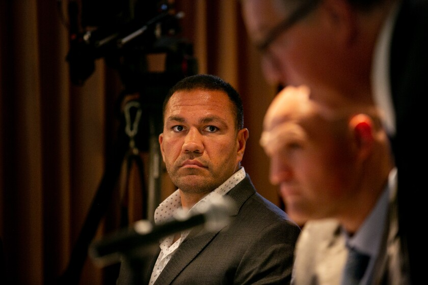 Boxer Kubrat Pulev attends a meeting of the California State Athletic Commission in which they reinstated his boxing license on July 22, 2019 in San Diego, California.