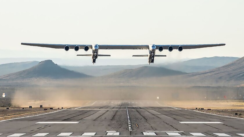 The twin-hulled, six-engine Stratolaunch took off Saturday from the Mojave Air and Space Port and spent more than two hours in the sky.