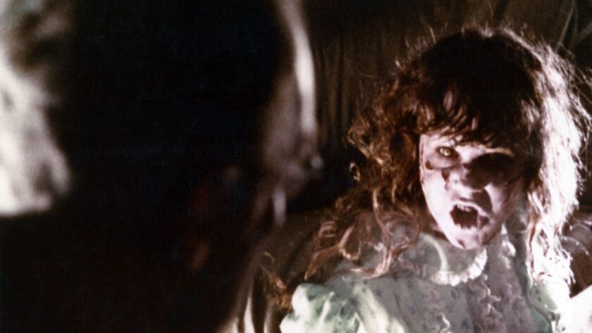 """(L-R) - Max Von Sydow and Linda Blair in a scene from """"THE EXORCIST,"""" 1973. Credit: AMPAS"""