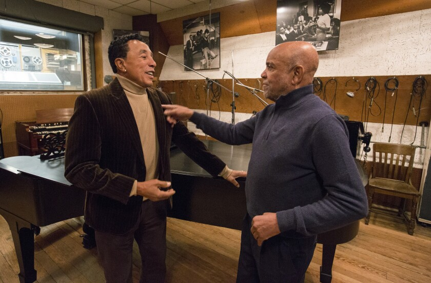"""Smokey Robinson and Berry Gordy in """"Hitsville: The Making of Motown"""""""