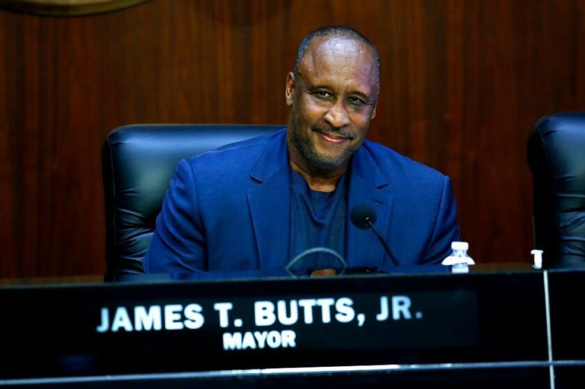 Inglewood Mayor James Butts, pictured at a meeting Tuesday, has lent nearly $160,000 to help elect a former planning commissioner to the City Council.
