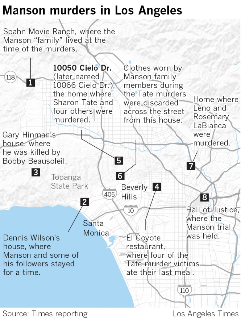 Map showing key locations of the Manson family murders.