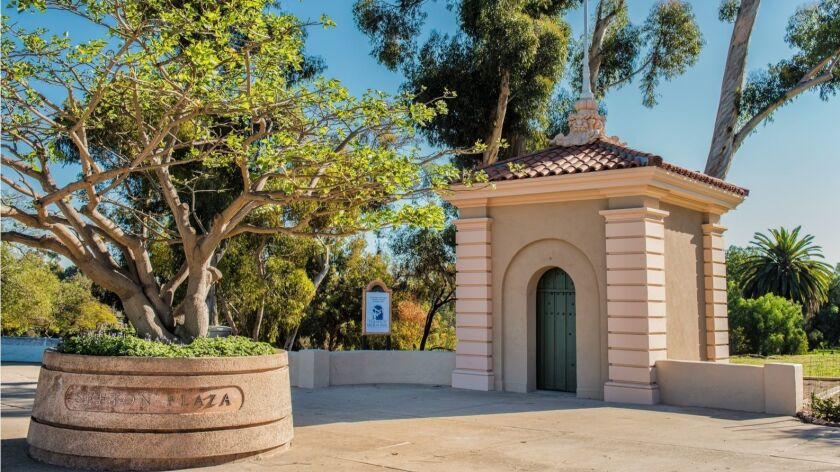 The two gatehouses at the west end of the Cabrillo Bridge have been restored.
