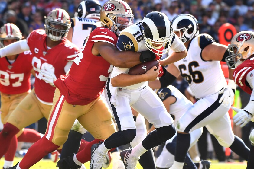 Jared Goff's erratic passing leads Rams to throws of defeat against 49ers