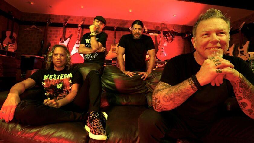 "Metallica's Kirk Hammett, left, Lars Ulrich, Robert Trujillo and James Hetfield have a new album, ""Hardwired... to Self-Destruct."""
