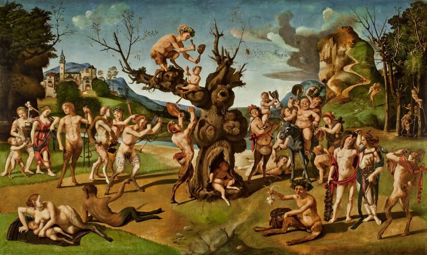 Piero di Cosimo Italian, 1462–1522 The Discovery of Honey by Bacchus, about 1499. Oil on poplar. U