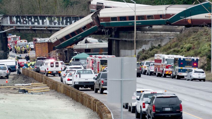 An Amtrak high-speed train derailed from an overpass on Dec. 18, 2017, near Tacoma, Wash., killing multiple people and sending cars flying off a bridge and onto a busy interstate.