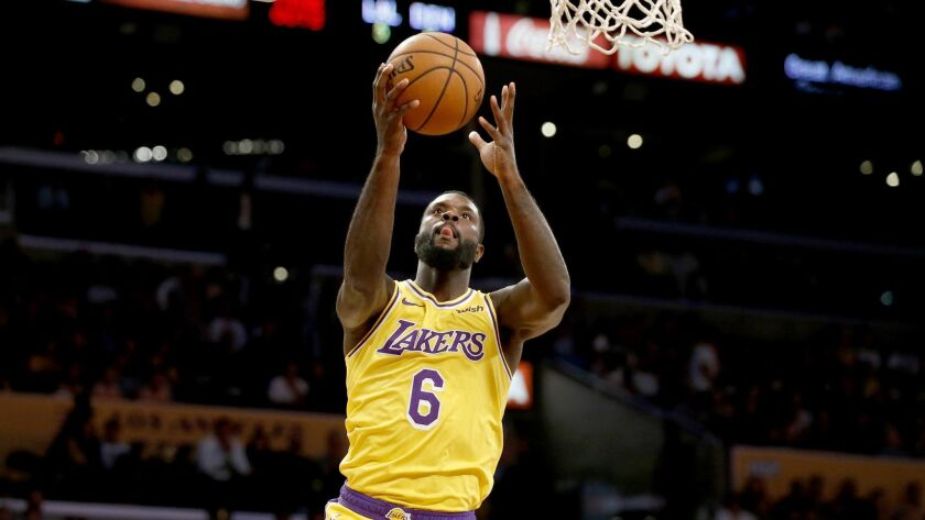 LOS ANGELES, CALIF. -- TUESDAY, OCTOBER 2, 2018: Los Angeles Lakers guard Lance Stephenson (6) score