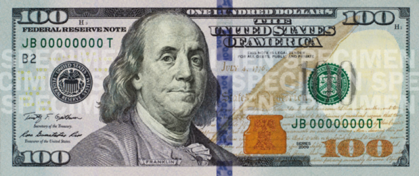 The new $100 bill that will begin circulating this fall comes with enhanced anti-counterfeiting features.