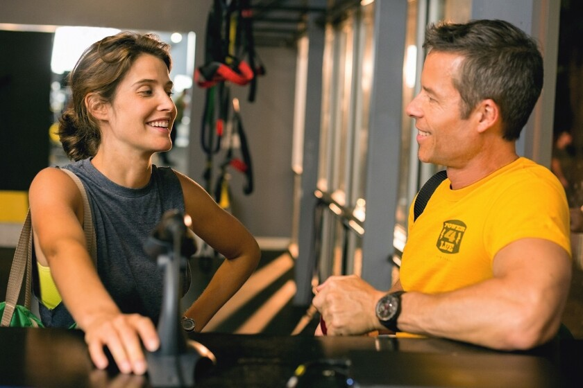 """Cobie Smulders and Guy Pearce in a scene from Andrew Bujalski's """"Results,"""" one of the films announced for the U.S. dramatic competition at the 2015 Sundance Film Festival."""