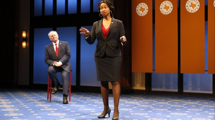 """Tracey A. Leigh portrays a freshman congresswoman in """"Kings"""" at South Coast Repertory, opposite Richard Doyle."""