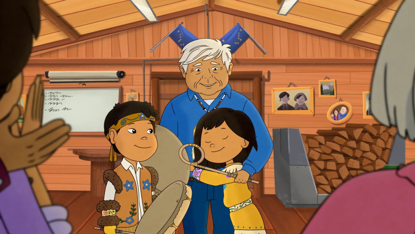 "In a scene from ""Grandpa's Drum,"" Molly hugs her Grandpa Nat with friend Tooey standing by."
