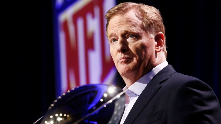 NFL commissioner Roger Goodell speaks to the media during a news conference in Atlanta on Jan. 30.
