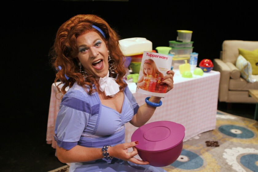 """Tupperware sales are booming as Kris Andersson makes himself at home at the Geffen in """"Dixie's Tupperware Party."""""""