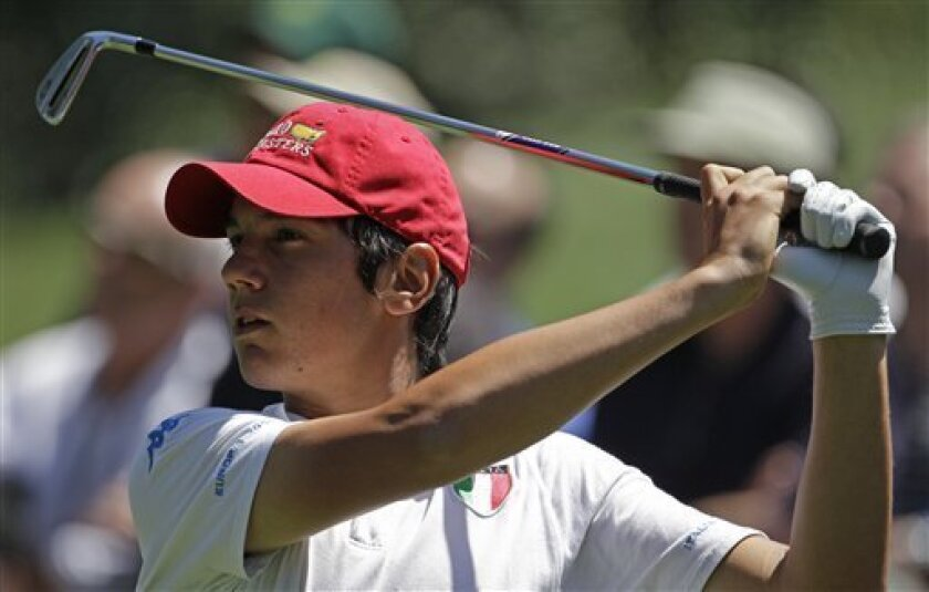 Amateur Matteo Manassero of Italy watches his tee shot on the sixth hole during the second round of the Masters golf tournament in Augusta, Ga., Friday, April 9, 2010. (AP Photo/Charlie Riedel)
