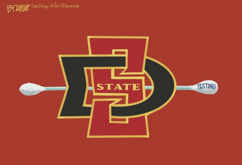 """In this Breen cartoon, the spear in the SDSU logo has been replaced with a long Q-tip labeled """"testing"""""""