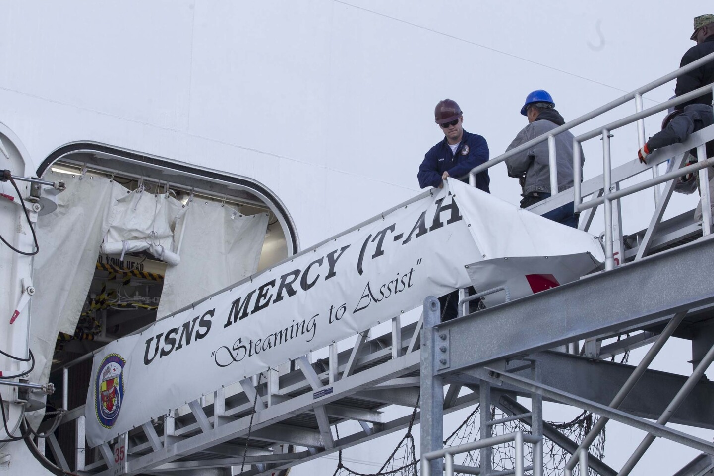 The ships banner came down as the US Navy Hospital Ship Mercy departed Naval Station San Diego.