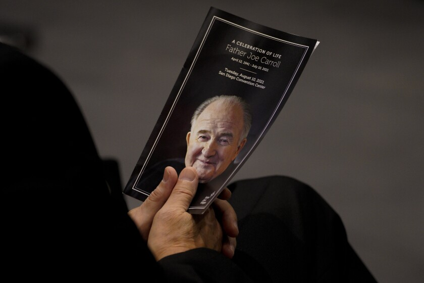 """At the San Diego Convention Center on Tuesday, hundreds gathered for """"A Celebration of Life"""" for Father Joe Carroll."""