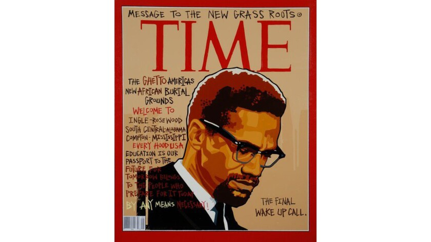 """Time Magazine,"" 2006, a mixed media piece by Milton Bowens, on view at the California African American Museum."