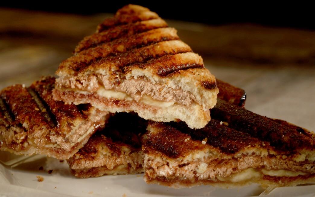 Halvah, banana and date syrup panini