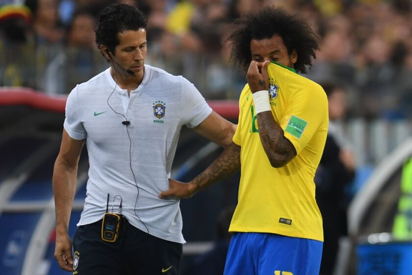Brazil's defender Marcelo leaves the pitch during the Russia 2018 World Cup Group E football match between Serbia and Brazil at the Spartak Stadium in Moscow on June 27, 2018.