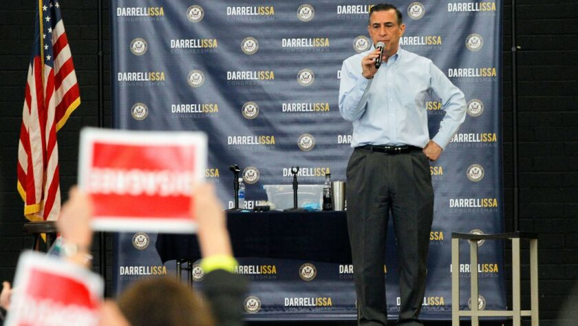 Rep. Darrell Issa speaks during a town hall meeting in Oceanside on Saturday.