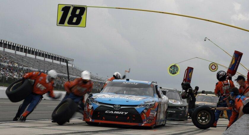 Kyle Busch pits during the NASCAR Xfinity series auto race at Pocono Raceway, Saturday, June 4, 2016, in Long Pond, Pa. (AP Photo/Matt Slocum)