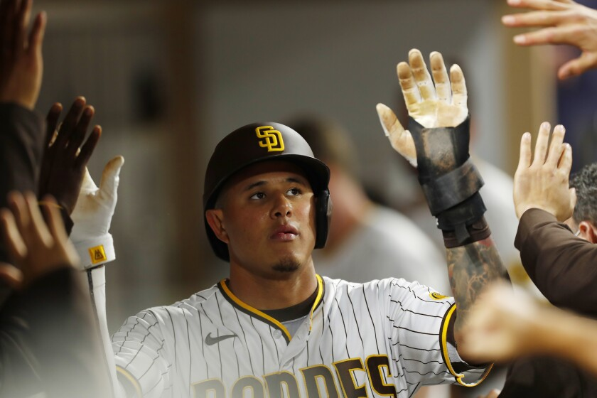 Padres' Manny Machado scored on a Luis Campusano single