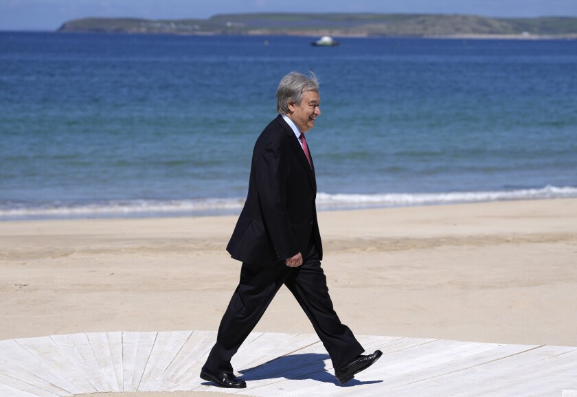 United Nations Secretary General Antonio Guterres arrives for the G7 meeting at the Carbis Bay Hotel in Carbis Bay, St. Ives, Cornwall, England, Saturday, June 12, 2021. Leaders of the G7 gather for a second day of meetings on Saturday, in which they will discuss COVID-19, climate, foreign policy and the economy. (AP Photo/Kirsty Wigglesworth, Pool)