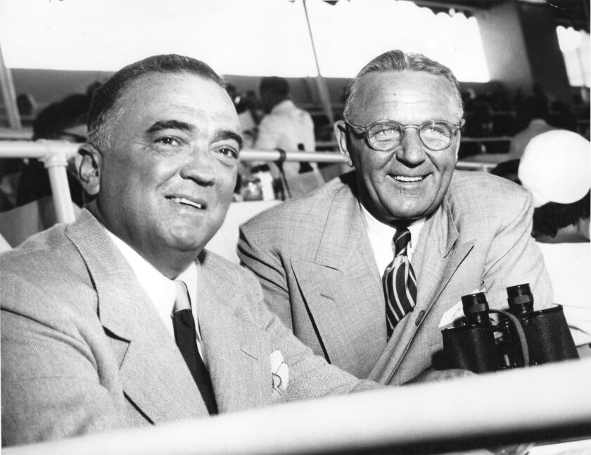 J. Edgar Hoover with Webb Everette in 1948. Everette was then the general manager of Del Mar.