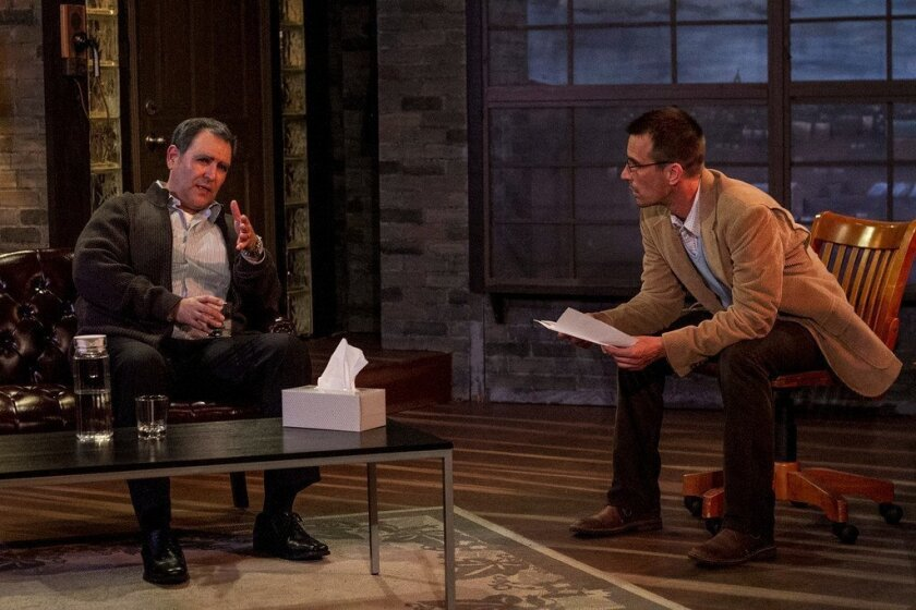 "Claudio Raygoza (left) and Francis Gercke in Ion Theatre's production of the Conor McPherson drama ""Shining City."""