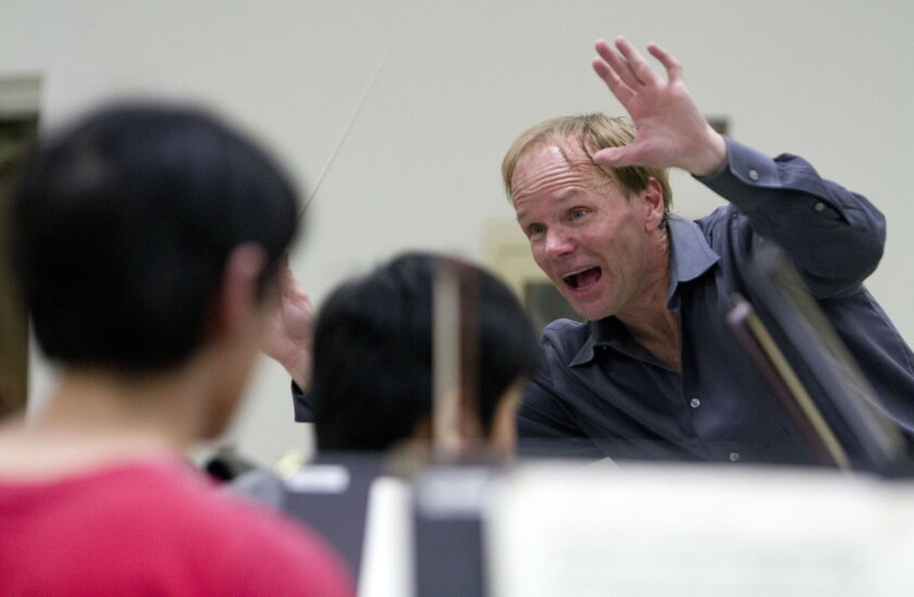 San Diego Youth Symphony music director Jeff Edmonds in rehearsal.