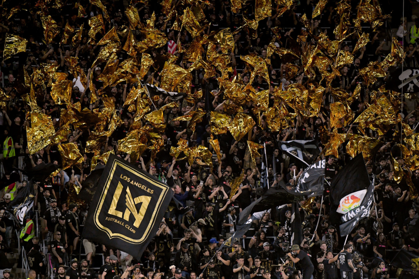 LAFC fans cheer on their team before a playoff match against the Galaxy.