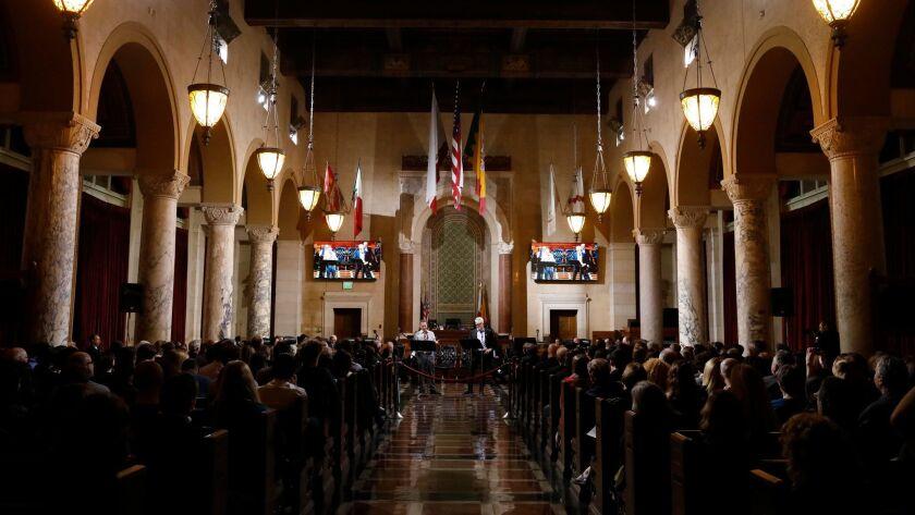 LOS ANGELES, CA - JANAUARY 27, 2018 - Actors Joshua Malina, center, left, as Carl Bernstein, and Bra