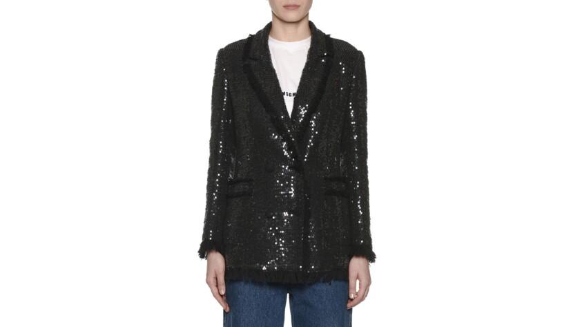 BLACK JACKET Designer: MSGM MSGM's black cotton-blend double-breasted blazer is slathered in blac