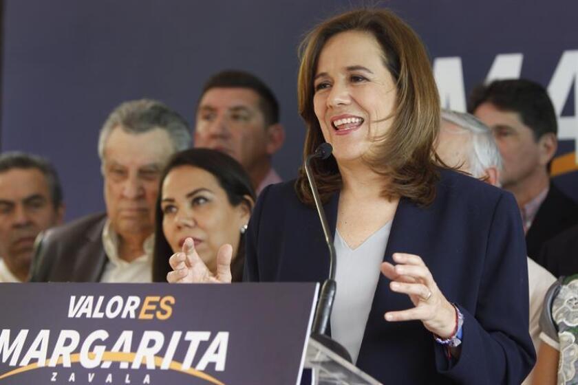 La aspirante a la candidatura independiente por la Presidencia de la República, Margarita Zavala, habla durante una rueda de prensa esta semana. EFE