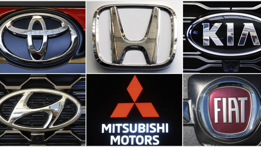This undated combination of photos shows clockwise from top left the logos for Toyota, Honda, Kia, F
