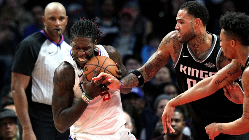 LOS ANGELES, CALIF. -- TUESDAY, DECEMBER 26, 2017: LA Clippers forward Montrezl Harrell (5) fights f