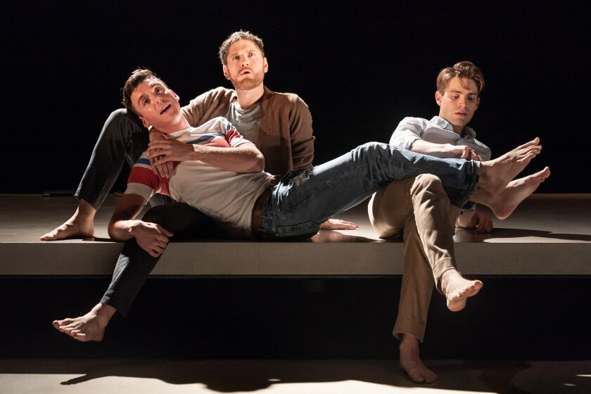 """Samuel H. Levine, left, Kyle Soller and Andrew Burnap in """"The Inheritance"""" in London. All star on Broadway as well."""