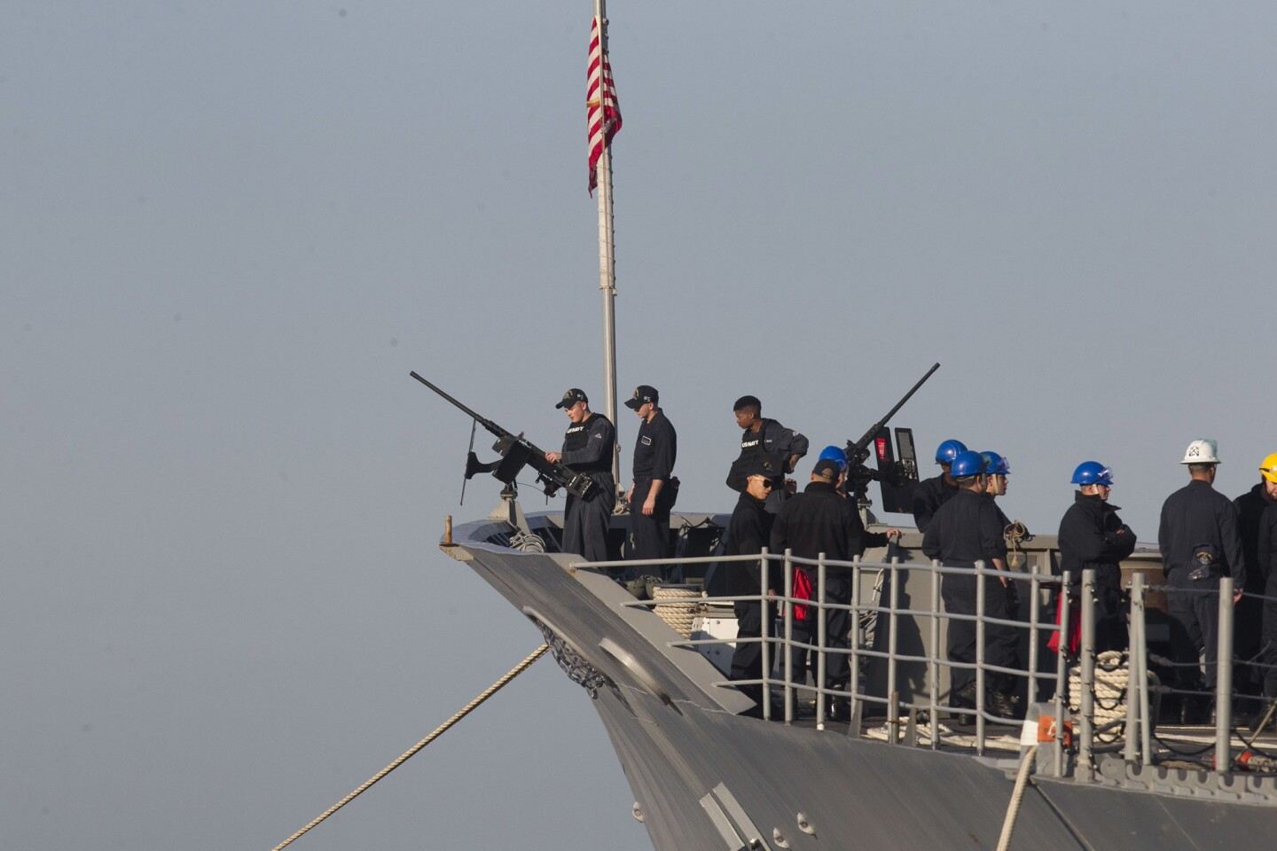 The guided missile cruiser USS Lake Champlain readied to depart.