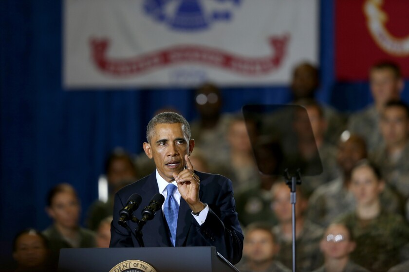 President Obama speaks during a visit Wednesday to the U.S. Central Command in Tampa, Fla., where he received a briefing from his top commanders on the strategy to take on the Islamic State militant group.