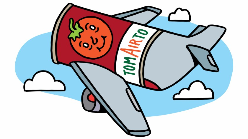 An illustration of an airplane made from a can of tomato juice