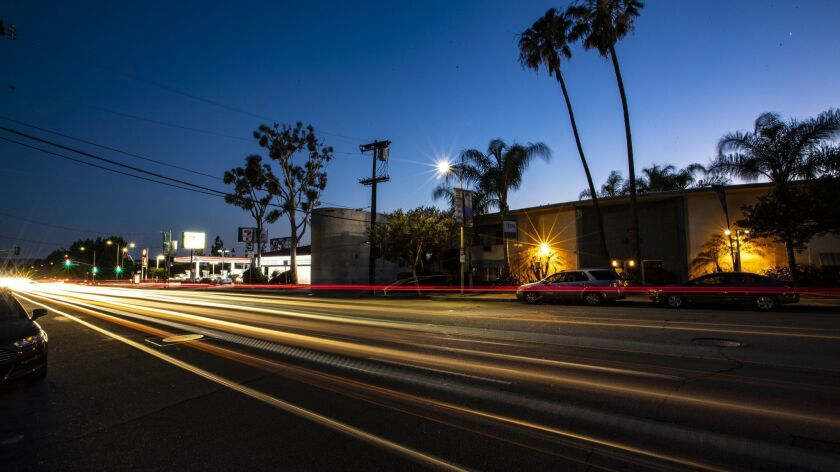NORTHRIDGE, CALIF. -- WEDNESDAY, JUNE 27, 2018: A long exposure captures the trail of lights from v