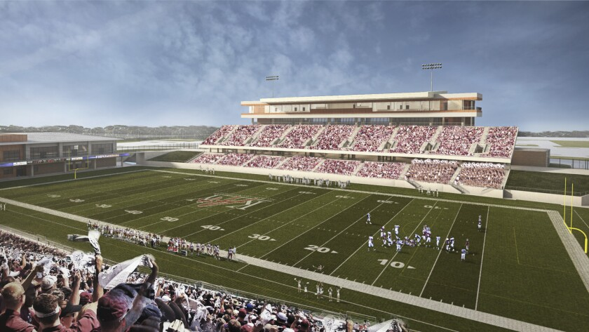 Artists rendering of the proposed high school stadium under construction in Katy, a Houston suburb.