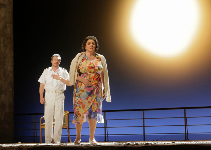 """Paulo Szot as the Captain and Michaela Martens as Marilyn Klinghoffer in """"The Death of Klinghoffer"""" at the Metropolitan Opera in New York."""