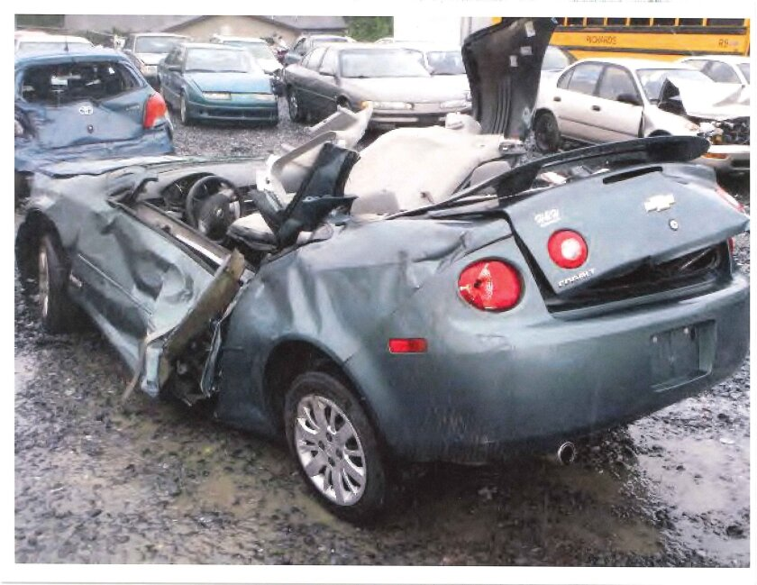 Jacqueline Gilbert was injured when this Chevy Cobalt hit a tree. She is suing General Motors, saying the car's ignition system malfunctioned, causing the power steering to go out.