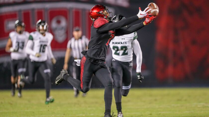 San Diego State wide receiver Fred Trevillion catches the ball for a 76 yard touchdown in the first quarter against Hawaii at SDCCU Stadium.